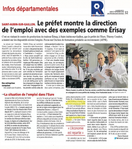 Article presse democrate Vernon sept 2018